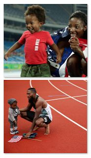 Nia Ali Baby Daddy  People reports that Nia Ali's one-year-old Titus stole the show after the race. Team U.S.A. made history with their clean sweep in the women's 100-meter hurdles but all the attention quickly shifted to Titus Maximus who couldn't wait to get to his mother to embrace her after the race. A star was born as the 15-month-old has quickly become one of the most recognizable faces in Rio.  According to NBCNia won the silver medal but it was Titus' bright red Team U.S.A. shirt…