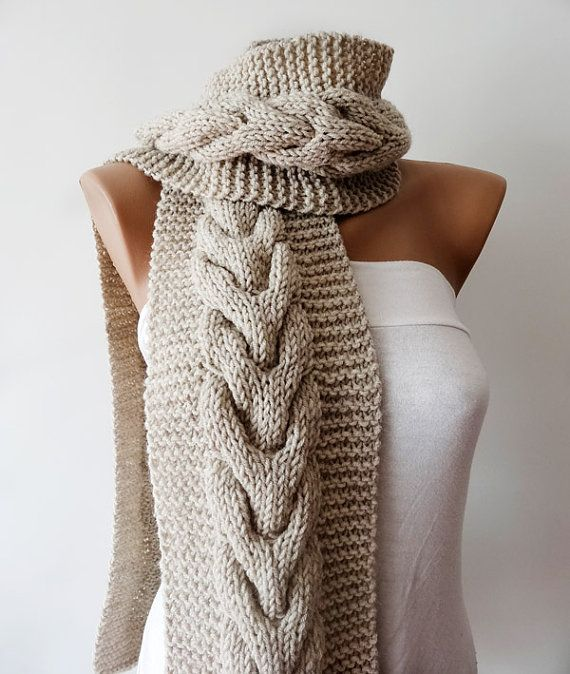 Beautiful Oatmeal Cable Scarf: Mens Womens Knit Scarf Cable Knit Scarf Hand by KnitsbyVara