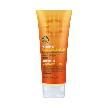 The Body Shop Vitamin C Cleansing Polish. Great exfoliating scrub with an invigorating Orange-y scent.