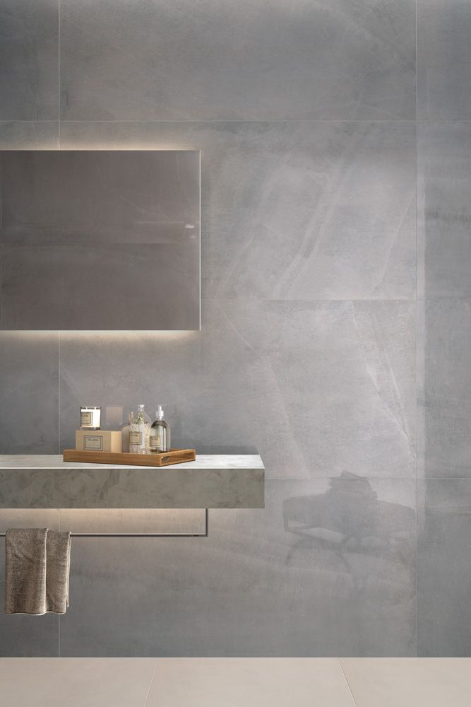 Minoli Tiles - Allover - Feel like giving luxury and distinction to your project? Allover Grey Lappato by Minoli is a polished porcelain tile with a unique pattern that comes in a big size. Wall tiles: Allover Grey Lappato 75 x 150 cm - https://www.minoli.co.uk/tiles/allover-grey/ - #Minoli #minolitiles #porcelain #tile #porcelaintile #tiles #porcelaintiles #stone #effect #stoneeffect #look #stonelook #marble #marbleeffect #concrete #concreteeffect #grey #lappato #polished #big