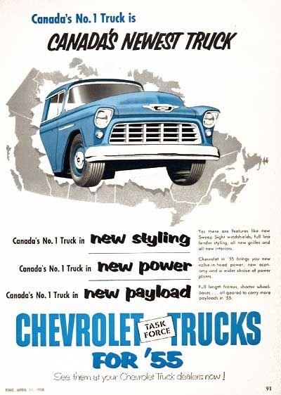 1955 Chevrolet Pickup Trucks original vintage advertisement. Canada's No. 1 truck is Canada's Newest Truck.