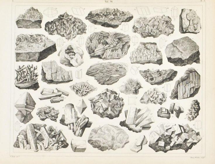 Rocksalt Fluospar Karetenite Lead Ammonia Antique Mineralogy Print 1857