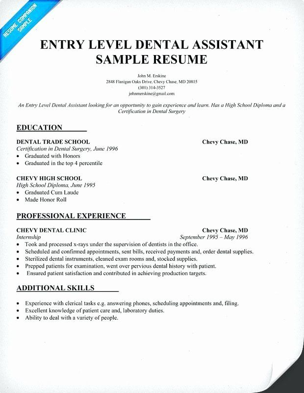 Dental Assistant Resume No Experience Beautiful Example For A Resume