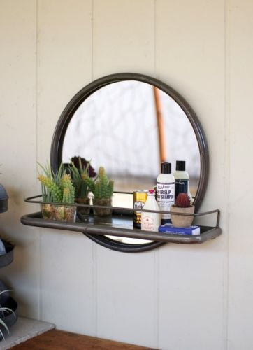 Vintage Industrial Round Loft Warehouse Style Metal Frame Wall Mirror With Shelf