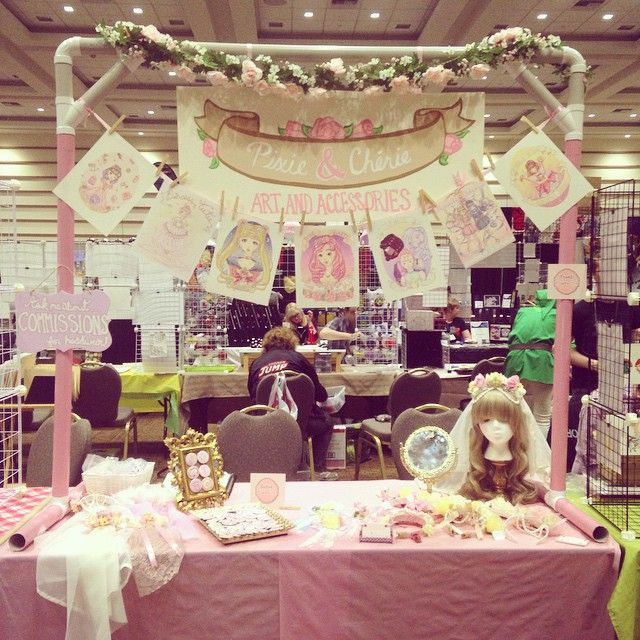 My Artist Alley booth for Pixie & Chérie! Ten minutes until the doors open…