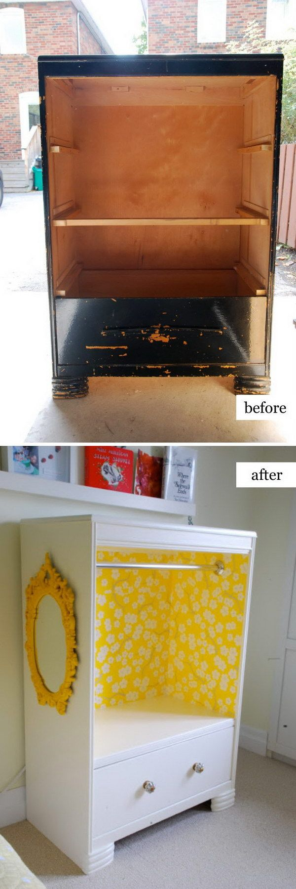 6 DIY Kid's Dress Up Storage From An Old Tall Boy Dresser