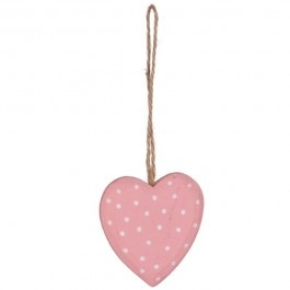 Pink Dotty Hanging Heart £1.50