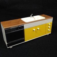 Vtg Tomy Smaller Home and Garden Dollhouse Furniture Kitchen Sink Dishwasher