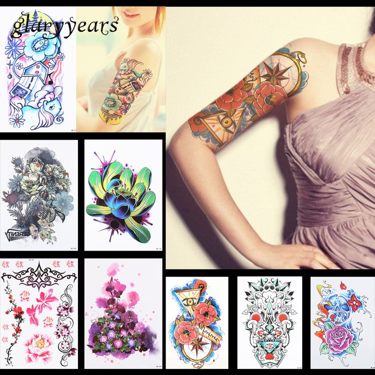 8 Pieces Flower Pattern Design Temporary Tattoo Sticker Lotus Peony Petunia Decal Women Body Art Waterproof Tattoo Sticker HB#18 #Affiliate
