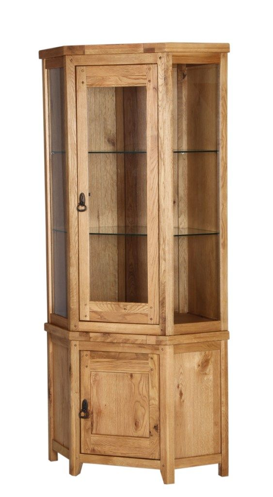 Branches Of Bristol Vienna Rustic Oak Corner Display Cabinet Perfect Unit Home Ideas Glazing Furniture Kitchen