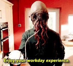"""Enjoy your workday experience. / have a nice day at work / good morning – Amy & Rory's visiting housekeeper / butler Ood – Doctor Who s7 minisode """"Pond Life"""""""