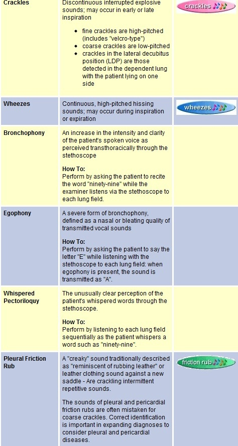 auscultation of lung examples - audio