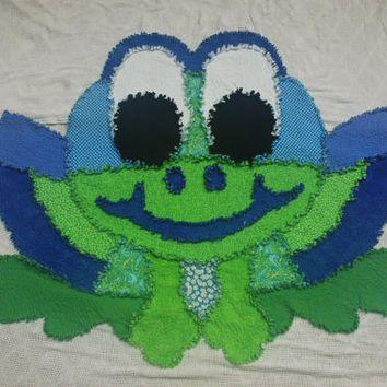 Rag Quilt Frog Shape, Handmade, Original Design By Sharon, Machine Quilted