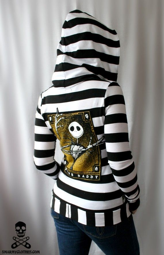 Nightmare Before Christmas Hoodie. Love. Unfortunately this is just an example of a hoodie she could make with the tshirt. :(