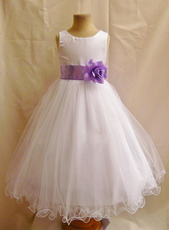 Flower Girl Dresses  WHITE with Lilac FD0FL  door NollaCollection