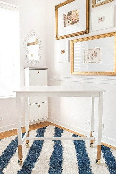 Fun, small, dip-.legged desk Desk in Old White, Gold Dipped