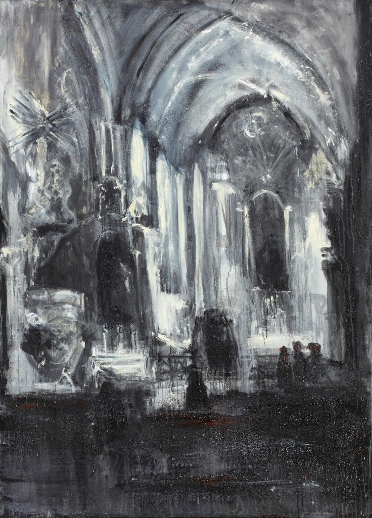 Jakub Špaňhel, Po mši v Předklášteří, 2003, akryl, olej, plátno, 220 x 160 cm