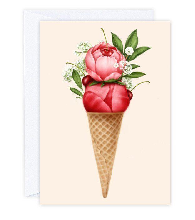 Cherry Peonies Sorbet Greeting Card