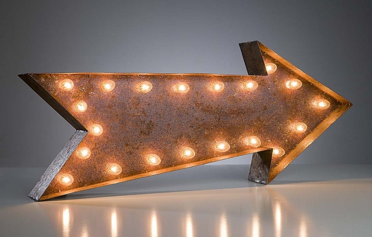 Point me in the right direction with this Vintage Arrow Sign in brown aged rustic metal to give an authentic antique appeal. #color