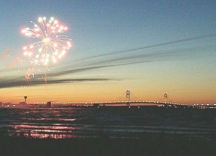 Fireworks over the Mackinaw Bridge in Mackinaw City, Michigan