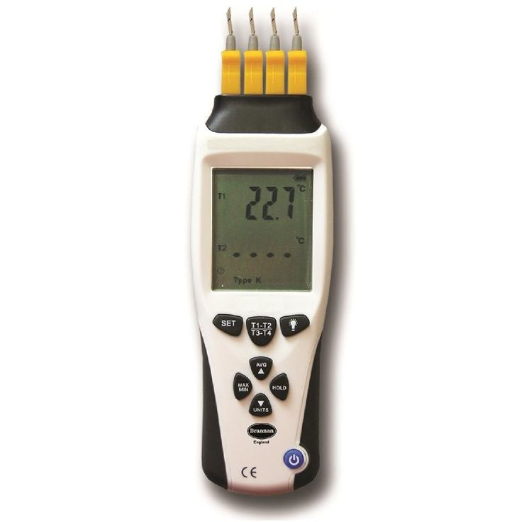 A professional instrument with 4 inputs providing up to 4 simultaneous readings from J-Type or K-type thermocouples sensors. Readout in °C, °F or Kelvin. Supplied complete with carry case and basic K-type beaded wire thermocouples. Compatible with all Brannan K-Type probes.