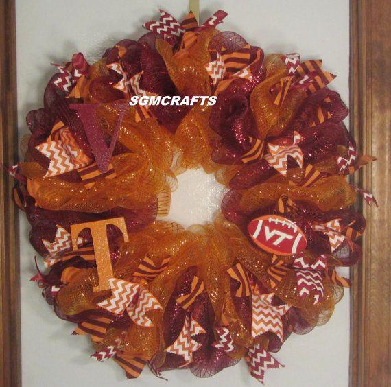 Virginia Tech Football Wreath VT Football Deco Mesh by SGMCRAFTS
