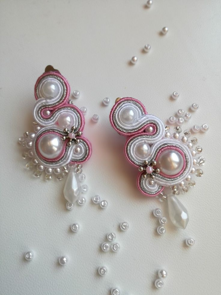 MirSi handmade jewels: White, pink and silver clip on soutache earrings with snow white pearls and silver beads