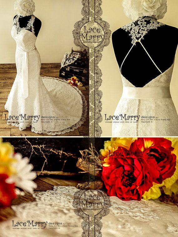 Extraordinary Asymmetric Illusion Neckline Lace by LaceMarry