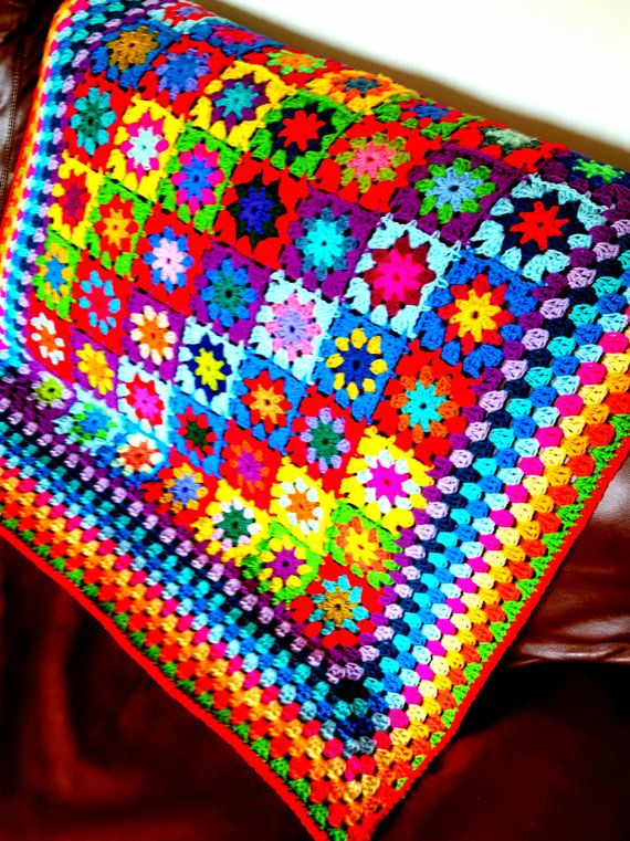 25% OFF Ready To SHIP Kaleidoscope Blanket Granny Squares Afghan SALE