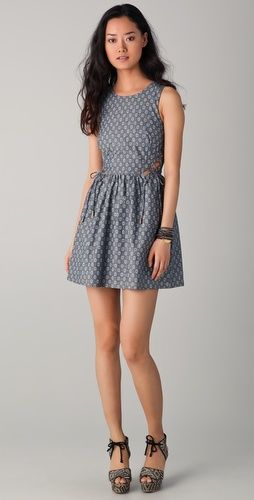 Charlotte Ronson Print Chambray Dress with Cutouts. I just died a little.