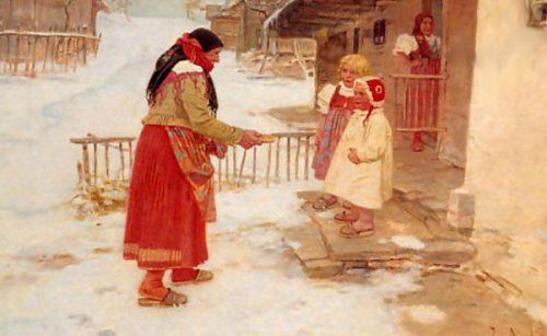 A Winter Gift by Josef Douba (1866 - 1928, Czech)