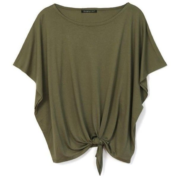 Grab and go jersey knotted top in olive ($20) ❤ liked on Polyvore featuring tops, pullover top, browns jersey, pullover jersey, jersey pullover and slouchy tops