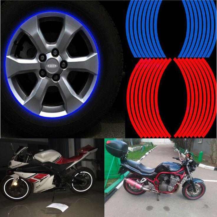 16pcs Strips Motorcycle Car Sticker Wheel Tire Stickers Reflective Rim Tape Motorcycle Car Styling for Bike/car/motorcycle diy