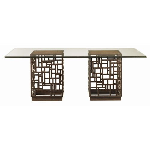 Tommy Bahama Home Ocean Club Double Pedestal South Sea Rectangular Glass  Top Table   Baeru0027s Furniture