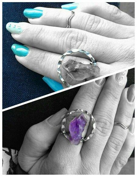 Veraman shellac manicure, handmade ring- amethyst