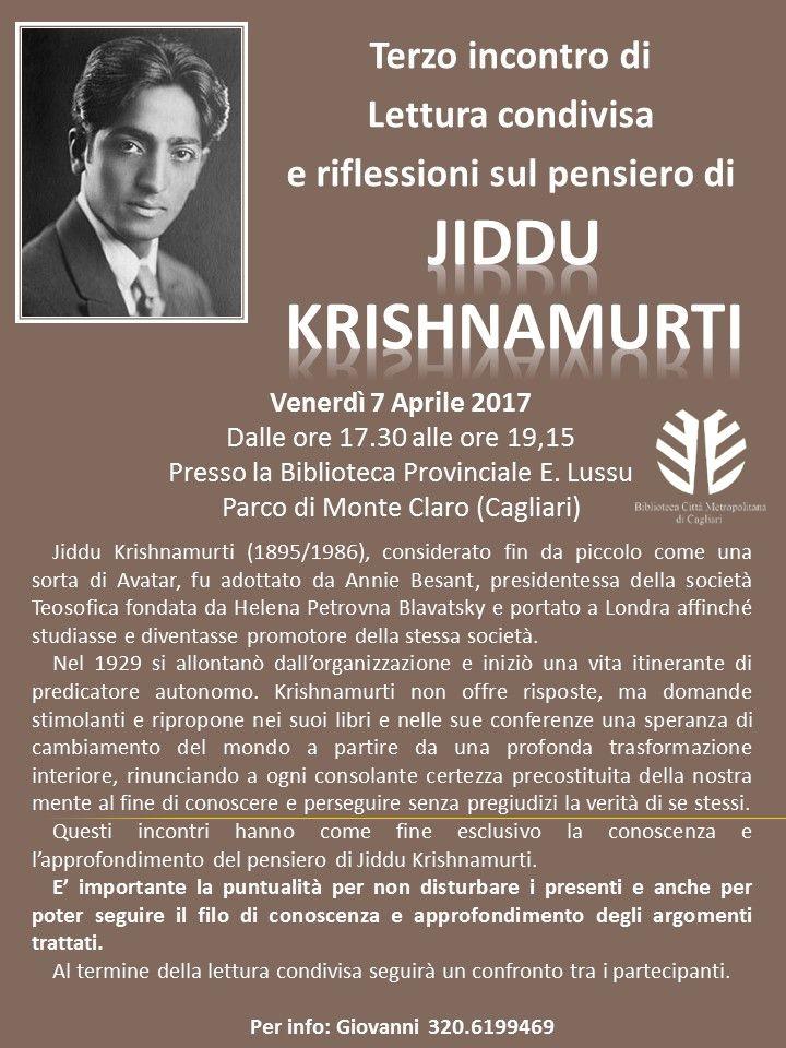 Venerdì7 aprile, dalle ore 17.30 alle ore 19.15, appuntamento in Biblioteca Emilio Lussu per la terza lettura condivisa sul pensiero di Jiddu Krishnamurti. L'incontro fa parte del programma …