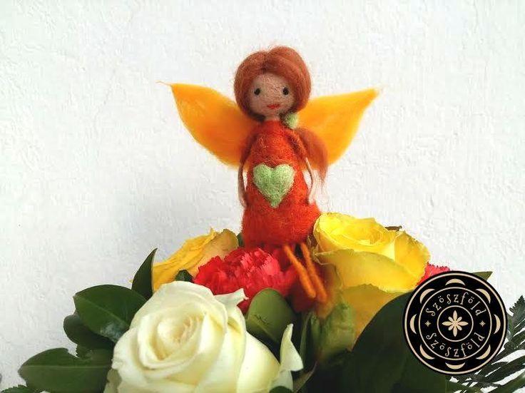 virág, tündér, virágtündér, tűnemez, nemez, gyapjú, gyapjúbaba