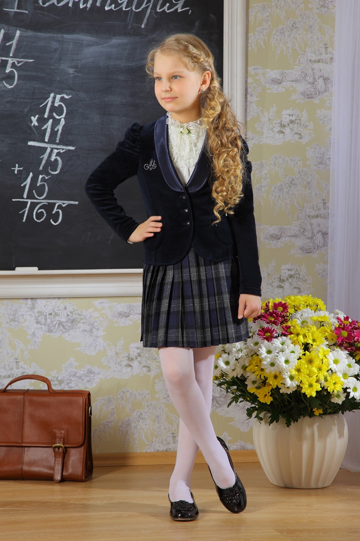 Tartan Skirt And Black Jacket, White Sheer Nylon Pantyhose -3374