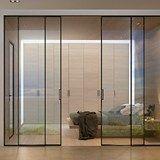 Hinged glass and aluminium door