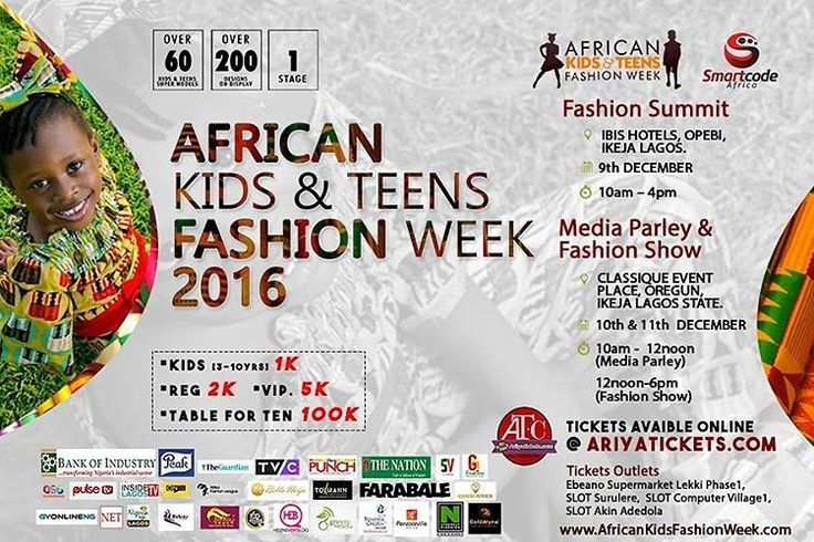 "Via @africankidsfashionweek: ""All you need to know...Tickets for the 2016 African Kids and Teens Fashion Week is now on sale. Don't wait till the rush hour. You can purchase your tickets online at www.ariyatickets .com Other tickets outlets includes  1. Ebeano supermarket Lekki Phase 1  2. Slot Surulere outlet  3. Slot Computer Village 1 Outlet Ikeja  4. Slot Akin Adedola VI branch.  Children (3-10 years) 1k Adults: 2k VIP: 5k Table for : 100k #AKTFW2016  #LagosforKidsLagosforAfrica #kids…"