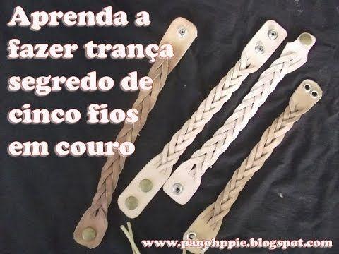 Como fazer pulseiras de 5  fios em couro