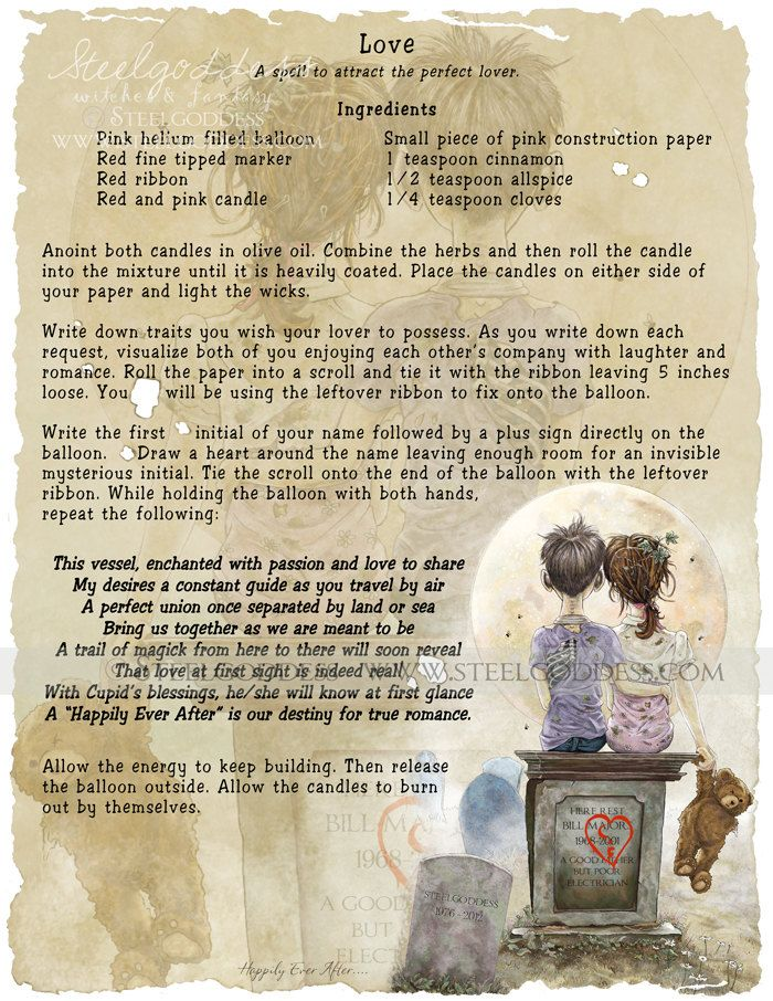 Love spell. Everyone can use a good love spell! HOWEVER I just worry about where the balloon will end up. can't this type of litter harm wildlife? I like the spell, but will make changes to perhaps burn the paper and have the wind carry my intentions.