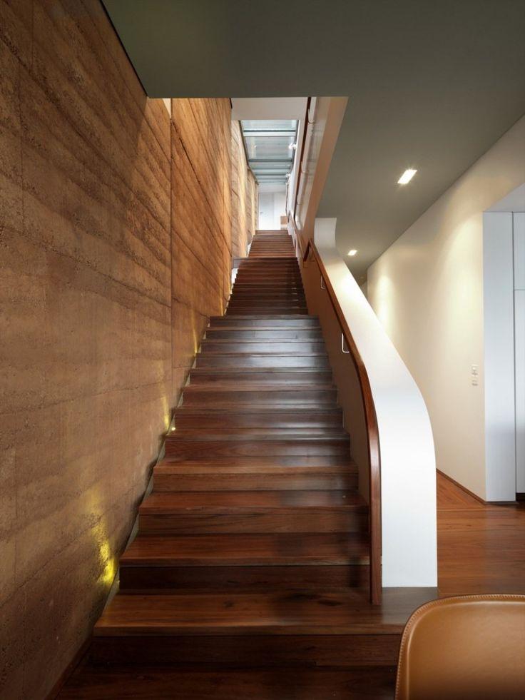 Rammed earth wall in residence.  Luigi Rosselli Architect