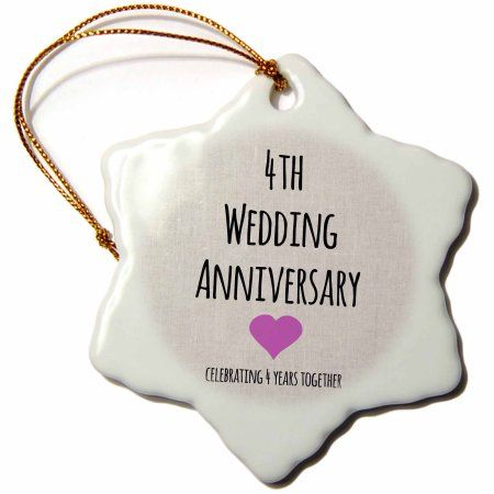 3dRose 4th Wedding Anniversary gift - Linen celebrating 4 years together fourth anniversaries four yrs, Snowflake Ornament, Porcelain, 3-inch