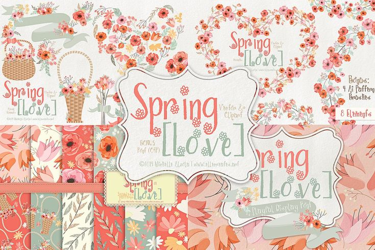 Download Spring Love 01 Graphics & Font Pack | Adobe illustrator ...