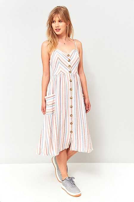 Urban Outfitters Emilia Striped Midi Dress