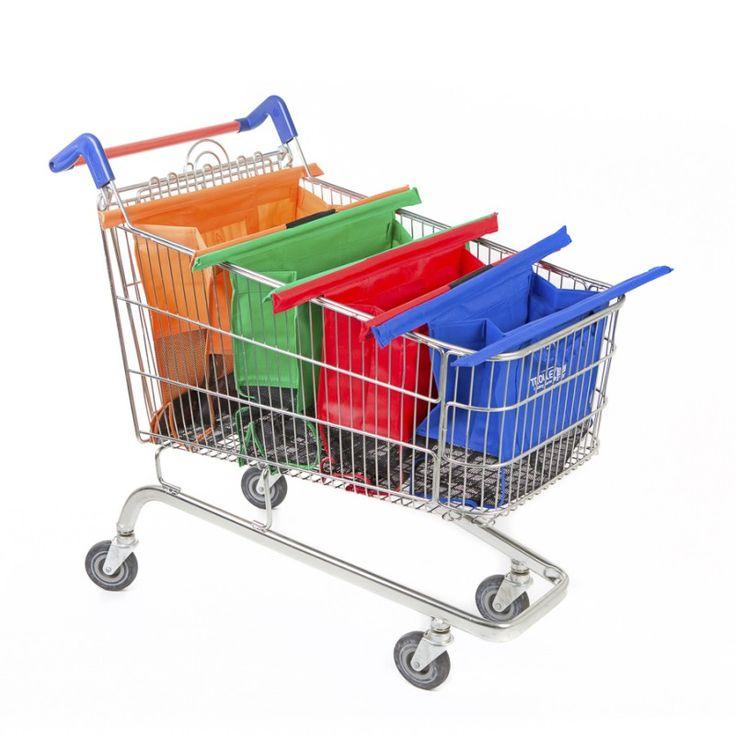 Sistema di quattro borse riutilizzabili per aiutarti ad organizzare velocemente la spesa alla cassa del supermercato. Una spesa intelligente con le originali buste per la spesa pieghevoli Trolley Bags! 4 borse resistenti colorate riutilizzabili utili per organizzare velocemente la spesa alle casse; Buste di diversi colori così da poter dividere la spesa come si desidera; Ogni colore ha una sua dimensione, dalla più grande arancione, passando per il verde ed il rosso, arrivando alla più…