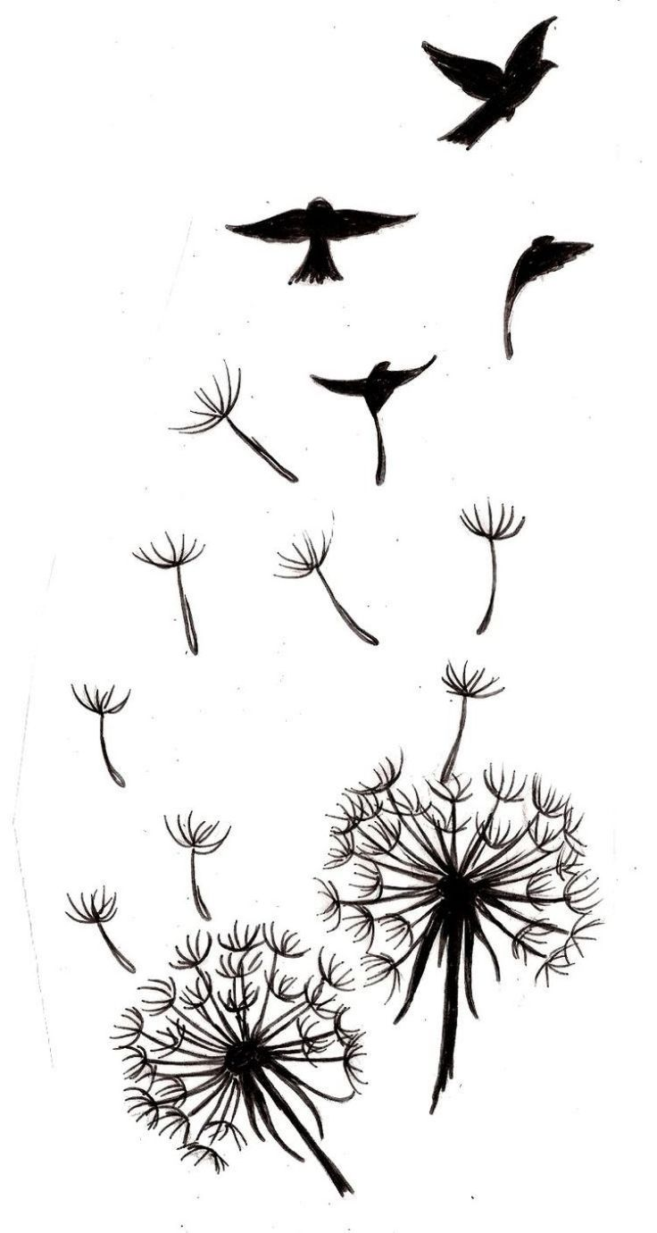 zwei Pusteblumen mit fliegenden Samen und schwarzen Vögeln