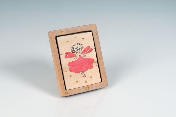 Wooden Puzzle - Two-Sided Ballerina Puzzle - Standing Wooden Frame - 3 Piece Wooden Puzzle