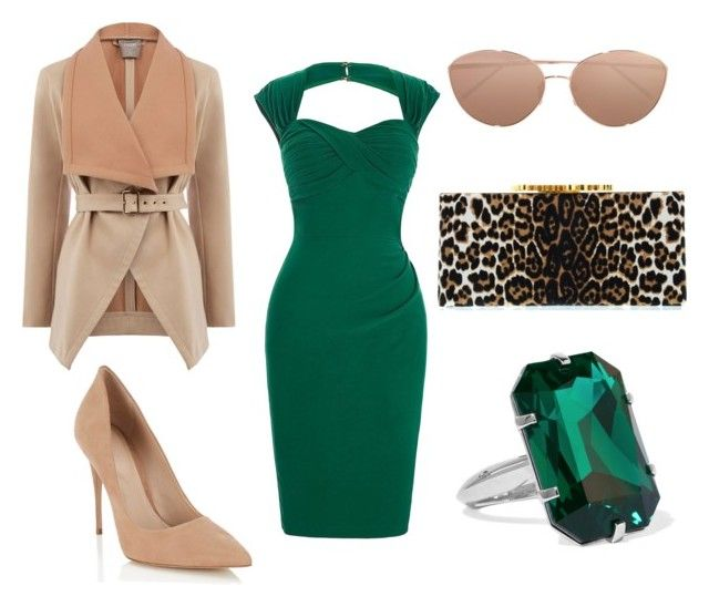 """Emerald green dress"" by natashausa on Polyvore featuring мода, Lipsy, Jimmy Choo, Linda Farrow и Balenciaga"